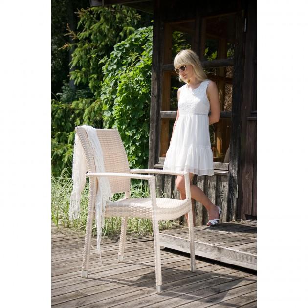 Стілець з підлокітниками Wicker Beige (13363) - Стільці для літніх кафе Garden4You