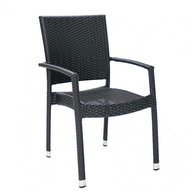 Стілець з підлокітниками Wicker Black (11892) - Стільці для літніх кафе Garden4You