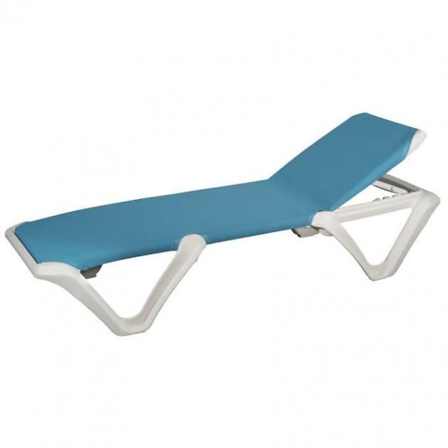 Пляжний шезлонг Eva Pro White Blue (3100WB) - Пляжні шезлонги Balliu