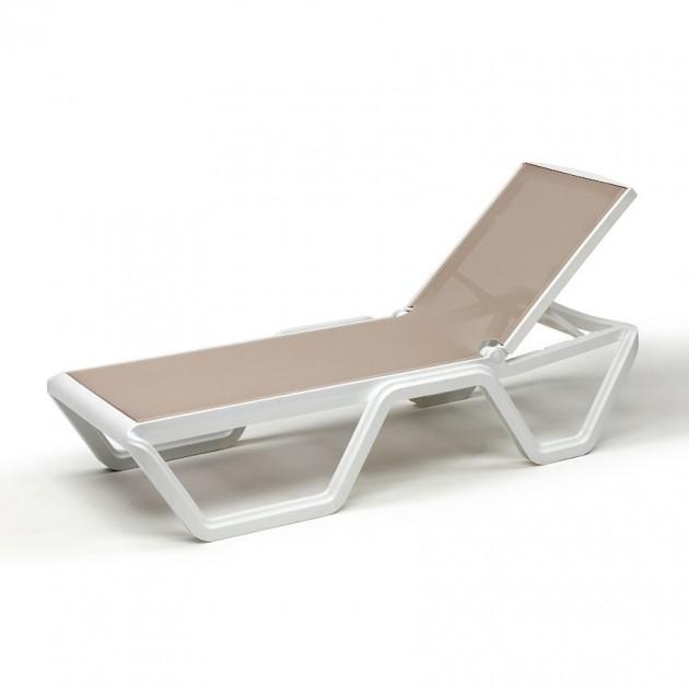 Шезлонг Vela Bianco Tortora (204410T15) - Пляжні шезлонги SCAB Design